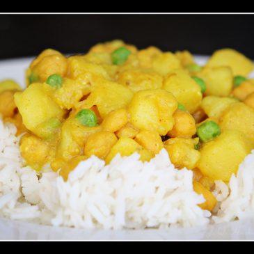 Potato and Chickpea Curry and Saffron Risotto with Butternut Squash