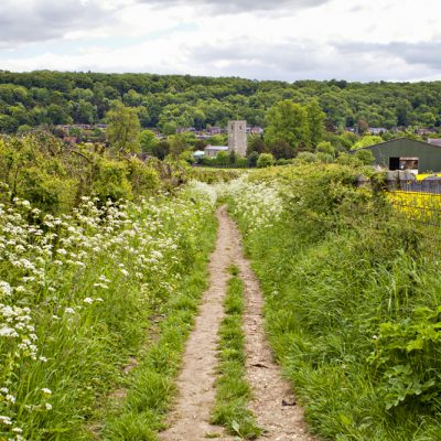 Looking back towards the village