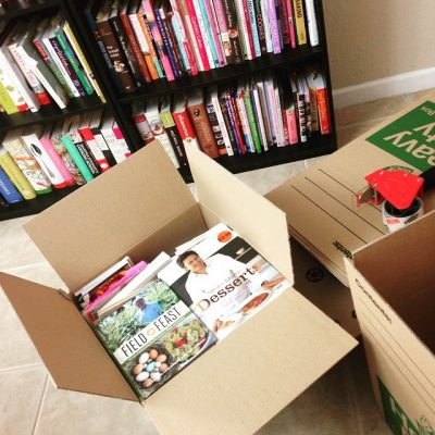 Packed boxes and boxes and boxes of cookbooks.
