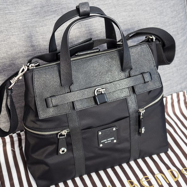 Henry Bendel Jetsetter Convertible Backpack in Black with silver hardware