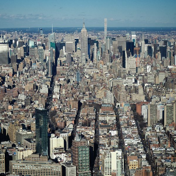 Manhattan, looking north from the One World Observatory.