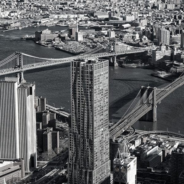 Brookly Bridge and Manhattan Bridge from the One World Observatory.