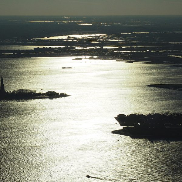 The Statue of Liberty and Ellis Island from the One World Observatory.