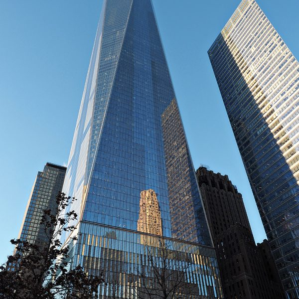 One World Trade Center, also known as the Freedom Tower. It houses the One World Observatory.