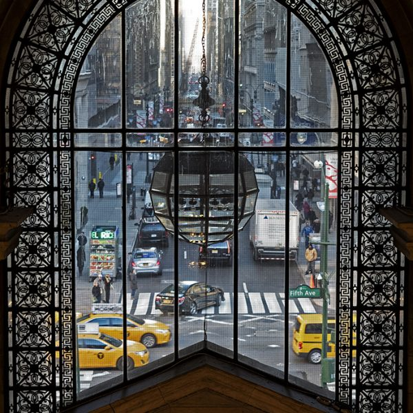 New York City through a window in the New York Public Library