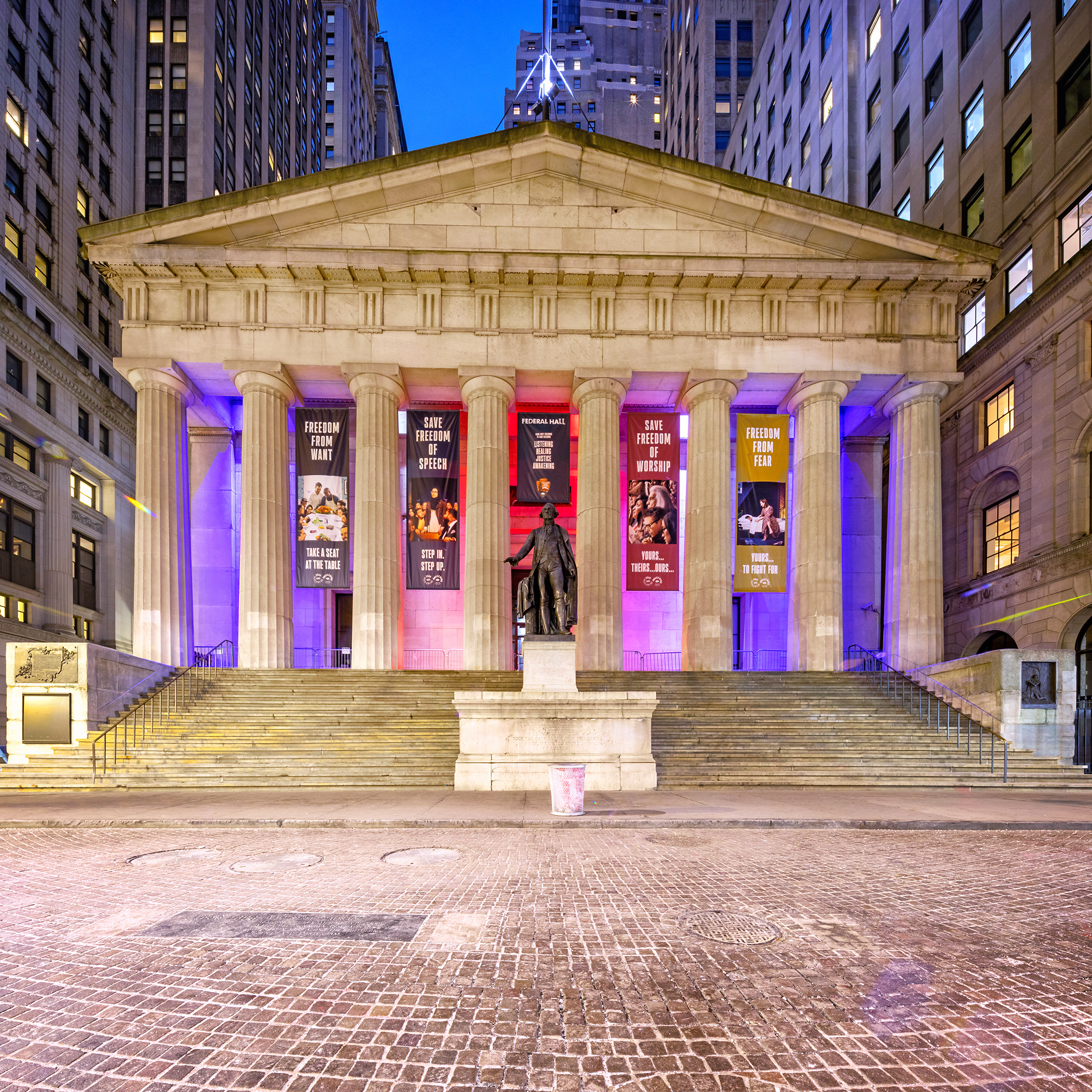 Federal Hall in Manhattan's Financial District during blue hour